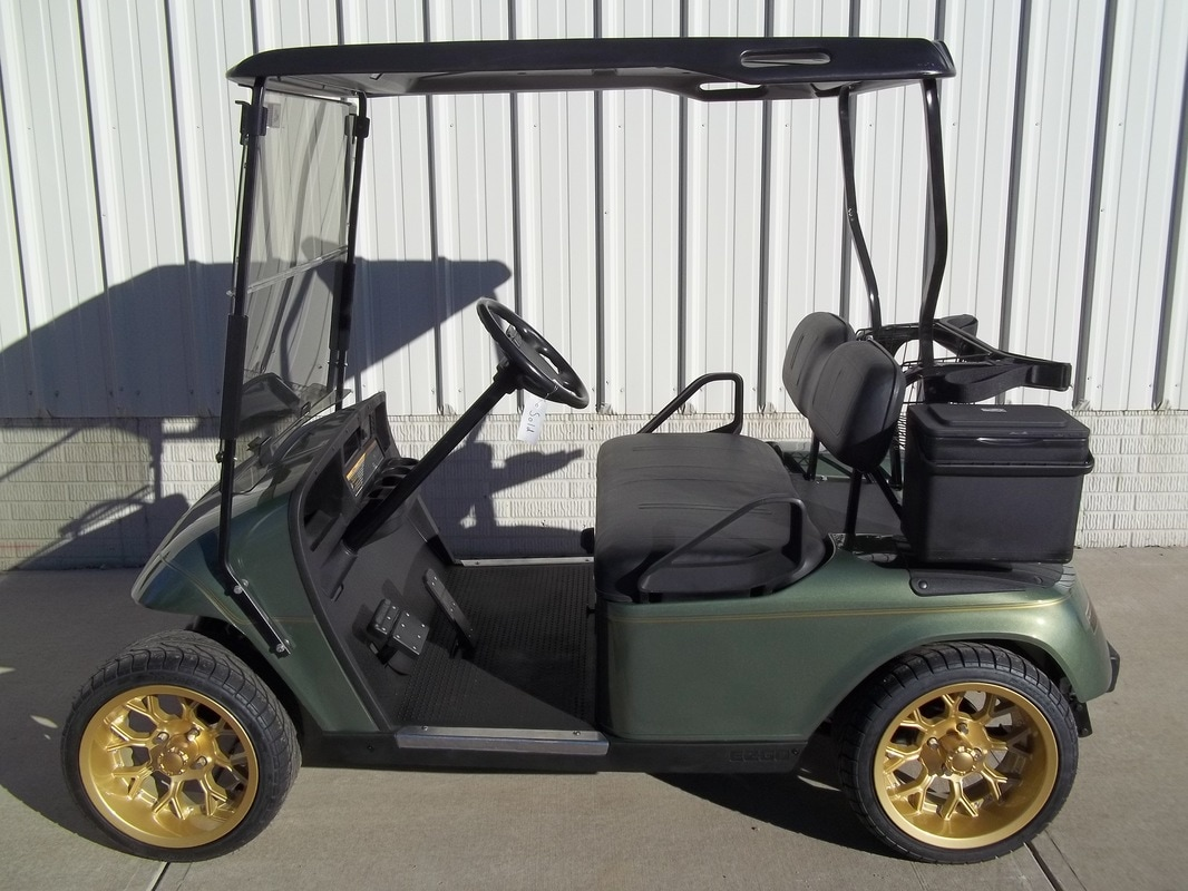 2006 E-Z-GO TXT Gas, Oasis Green, Black Seats & Top, Tinted Folding Windshield, Deluxe Cooler, Gold Pinstripe, 14