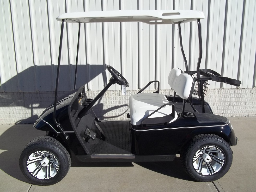 2005 E-Z-GO TXT Gas Black, White Pinstripe, White Seats & Top, Refurbished