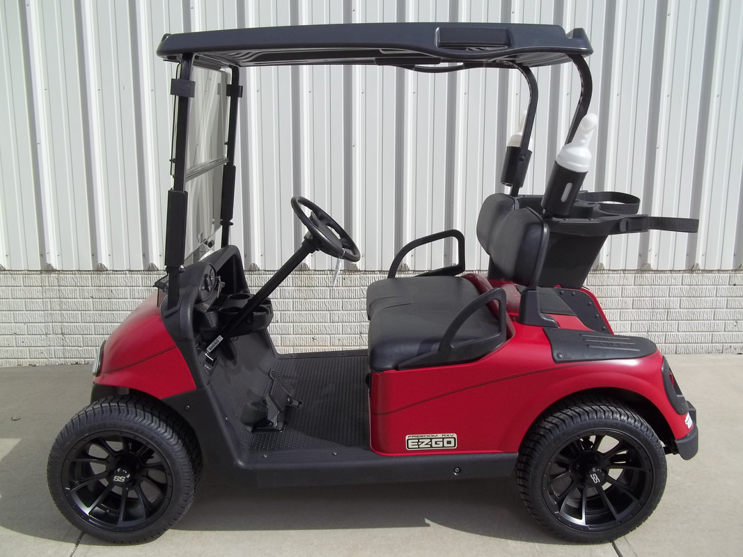 2012 E-Z-GO RXV Limited Edition Color, Electric 48-V (6-8V) Trojan Batteries, Matte Red, Freedom (Includes L.E.D. Head-Tail-Brake Lights, State of Charge Meter, Fastest Speed Program)​, Black Seats & Top, 14