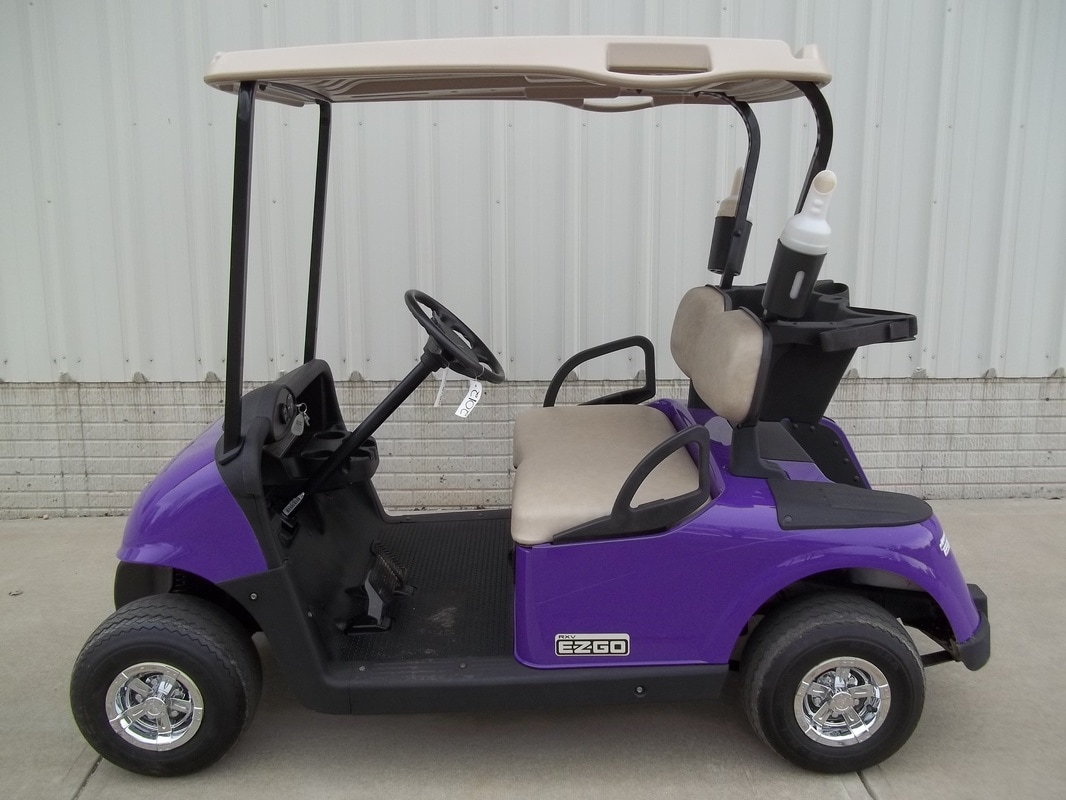 2012 E-Z-GO RXV, Custom Painted Purple, Stone Beige Seats & Top, Electric 48-V (6-8V) Trojan Batteries, State of Charge Meter, Fastest Speed Program​, Used Sandbottles, Chrome Hubcaps, MR. Golf Car Inc. Springfield South Dakota