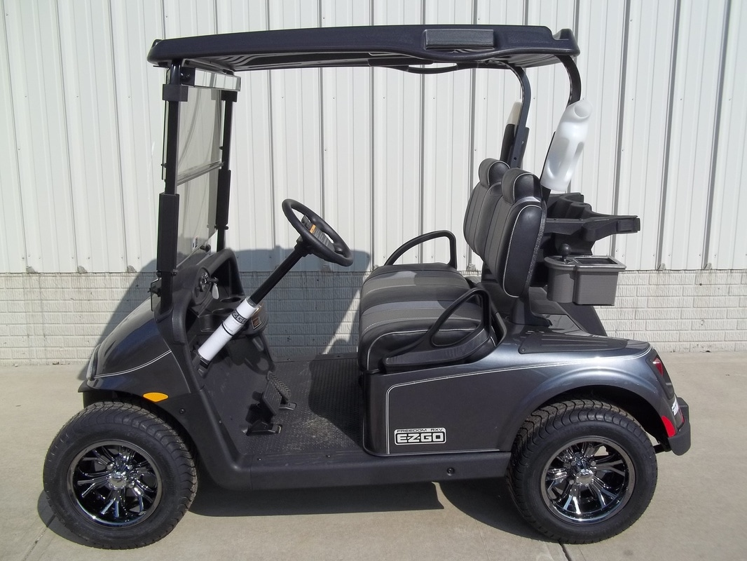 2017 E-Z-GO RXV ELiTE, Charcoal, Custom Black & Silver Seats, Black Top, Electric 48-V Samsung Lithium Ion Batteries (5-Year Free Replacement on Batteries) Maintenance Free!, Freedom (Includes Head-Tail-Brake Lights, Horn, State of Charge Meter, 19.5 MPH), Tinted Windshield, Mirror, Sandbottles, Side Basket, Turned Titanium Ball Washer, Metallic Silver Pinstripe, 12'' Black Chrome Wheels, MR. Golf Car Inc. Springfield South Dakota