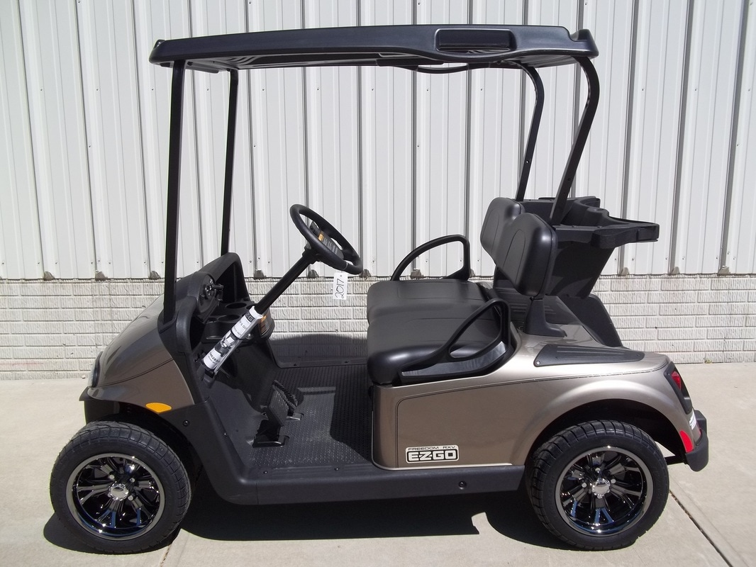 2017 E-Z-GO RXV Almond, Black Seats & Top, Electric 48-V (6-8V) Trojan Batteries, Freedom (Includes Head-Tail-Brake Lights, Horn, State of Charge Meter, Fastest Speed Program)​, Metallic Black Pinstripe, 12