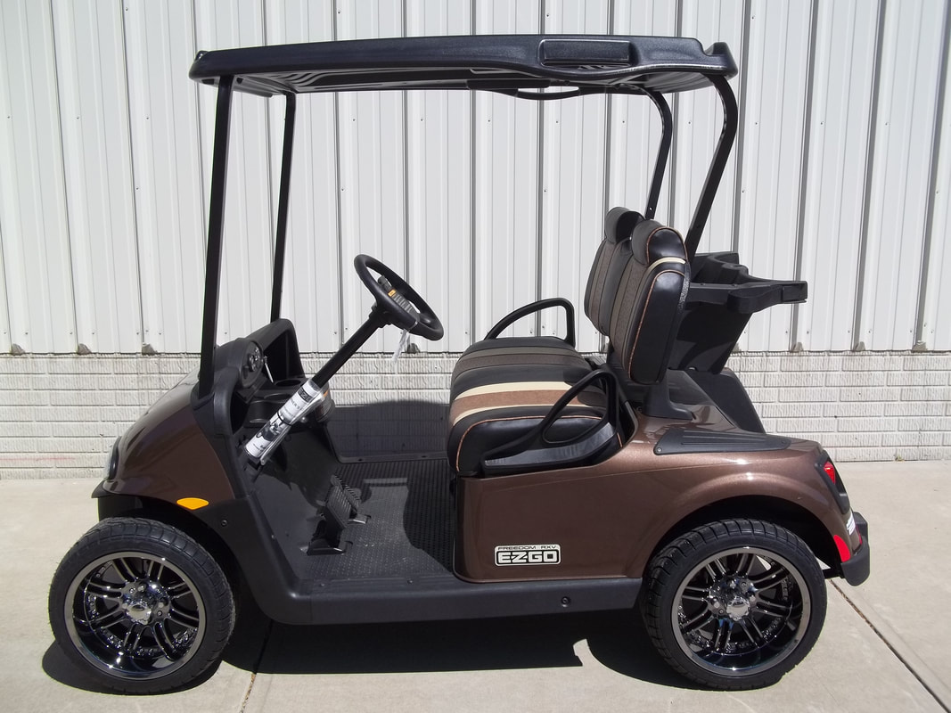 2016 E-Z-GO RXV, Electric 48-V (6-8V) Trojan Batteries, Java Brown, Freedom (Includes Head-Tail-Brake Lights, Horn, State of Charge Meter, Fastest Speed Program)​, Custom Brown Ostrich Seats, Black Top, 14