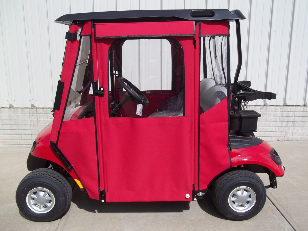 2017 E-Z-GO TXT LX, Gas, Flame Red, Freedom (Includes Head-Tail-Brake Lights, Fuel Gauge & Oil Light, Horn, 19 M.P.H.) Gray Seats, Black Top, Tinted Folding Windshield, Custom Red Door Works Enclosure w/ Zip Up Windows, Black Ball Washer, Deluxe Cooler, Custom Decal, Silver Hubcaps, MR. Golf Car Inc. Springfield South Dakota
