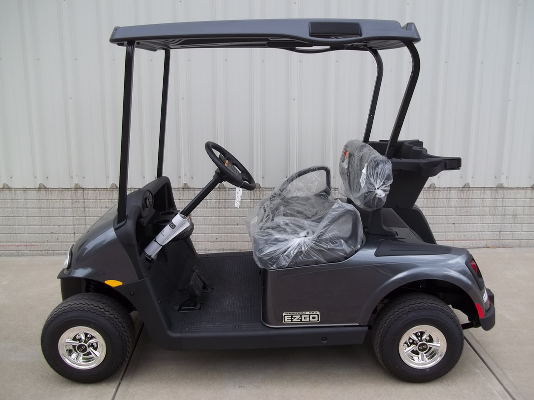 2017 E-Z-GO RXV ELiTE 3.0 Charcoal, Black Seats & Top, Electric 3.0 Samsung Lithium Ion Batteries (5-Year Free Replacement on Batteries), Freedom (Includes Head-Tail-Brake Lights, Horn, State of Charge Meter, 19.5 MPH), Maintenance Free!