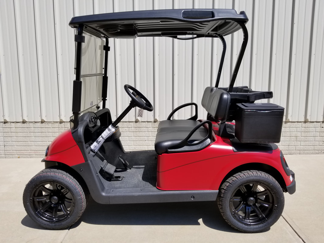 2015 E-Z-GO RXV Limited Edition Color, Matte Flame Red, Black Seats & Top, Electric 48-V (6-8V) Trojan Batteries, Freedom (Includes Head-Tail-Brake Lights, Horn, State of Charge Meter, Fastest Speed Program)​, Matte Black Pinstripe, 14'' Matte Black Wheels