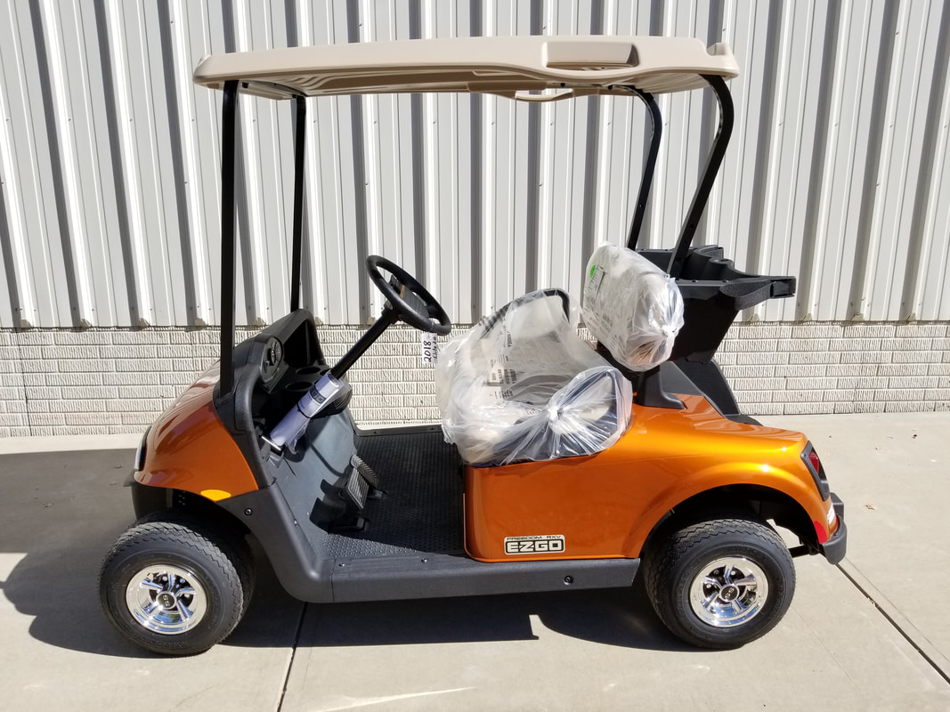 2018 E-Z-GO RXV ELiTE 2.0 NEW Sunburst Orange, Stone Beige Seats & Top, Electric 2.0 Samsung Lithium Ion Batteries (5-Year Free Replacement on Batteries), Freedom (Includes Head-Tail-Brake Lights, Horn, State of Charge Meter, 19.5 MPH), Maintenance Free!