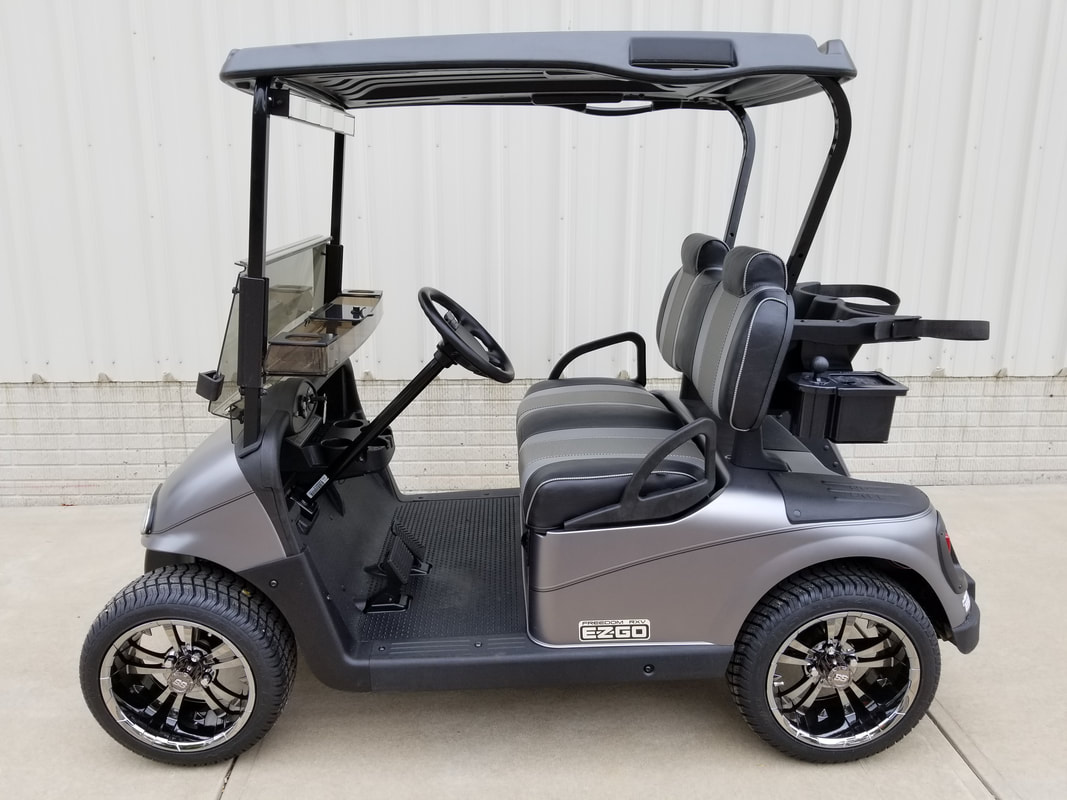 2013 E-Z-GO RXV Limited Edition Color, Electric 48-V (6-8V) Trojan Batteries, Matte Mercury, Freedom (Includes L.E.D. Head-Tail-Brake Lights, State of Charge Meter, Fastest Speed Program)​, Custom Carbon Fiber Seats, Black Top, 14