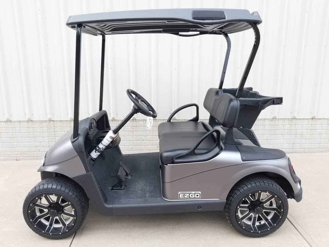 2017 E-Z-GO RXV Limited Edition Color, Matte Mercury, Black Seats & Top, Electric 48-V (6-8V) Trojan Batteries, Freedom (Includes Head-Tail-Brake Lights, Horn, State of Charge Meter, Fastest Speed Program), Matte Black Pinstripe, 14