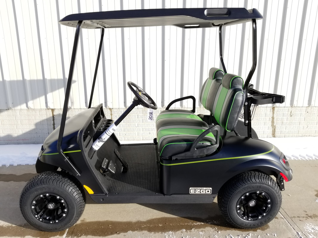 2018 E-Z-GO TXT LX, New, Limited Edition Color, Gas, Matte Black, Freedom (Includes Head-Tail-Brake Lights, Fuel Gauge & Oil Light, Horn, 19 M.P.H.), Custom Green & Black Seats, Black Top, Lime Green Pinstripe, 10