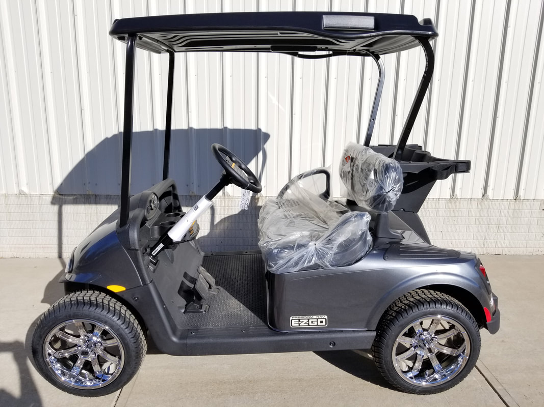 2017 E-Z-GO RXV ELiTE 3.0 Charcoal, Black Seats & Top, Electric 3.0 Samsung Lithium Ion Batteries (5-Year Free Replacement on Batteries), Freedom (Includes Head-Tail-Brake Lights, Horn, State of Charge Meter, 19.5 MPH), 14