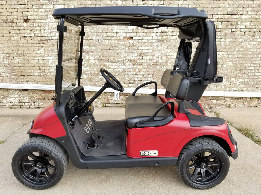 2016 E-Z-GO RXV, Limited Edition Color, Electric 48Volt (6-8V Batteries), Matte Red, Black Seats & Top, Freedom (Includes Head-Tail-Brake Lights, Horn, State of Charge Meter, Fastest Speed Program), Tinted Folding Windshield, Black Bag Cover, Locking Cubbyhole Doors, Custom E-Z-GO Cloth Floor Mat, Matte Black Pinstripe, 14