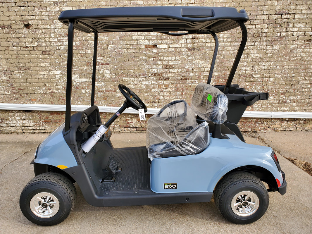 2019 E-Z-GO RXV ELiTE 4.0 Ocean Grey, Black Seats & Top, Electric 2.0 Samsung Lithium Ion Batteries (5-Year Free Replacement on Batteries), Freedom (Includes Head-Tail-Brake Lights, Horn, State of Charge Meter, 19.5 MPH), Maintenance Free!