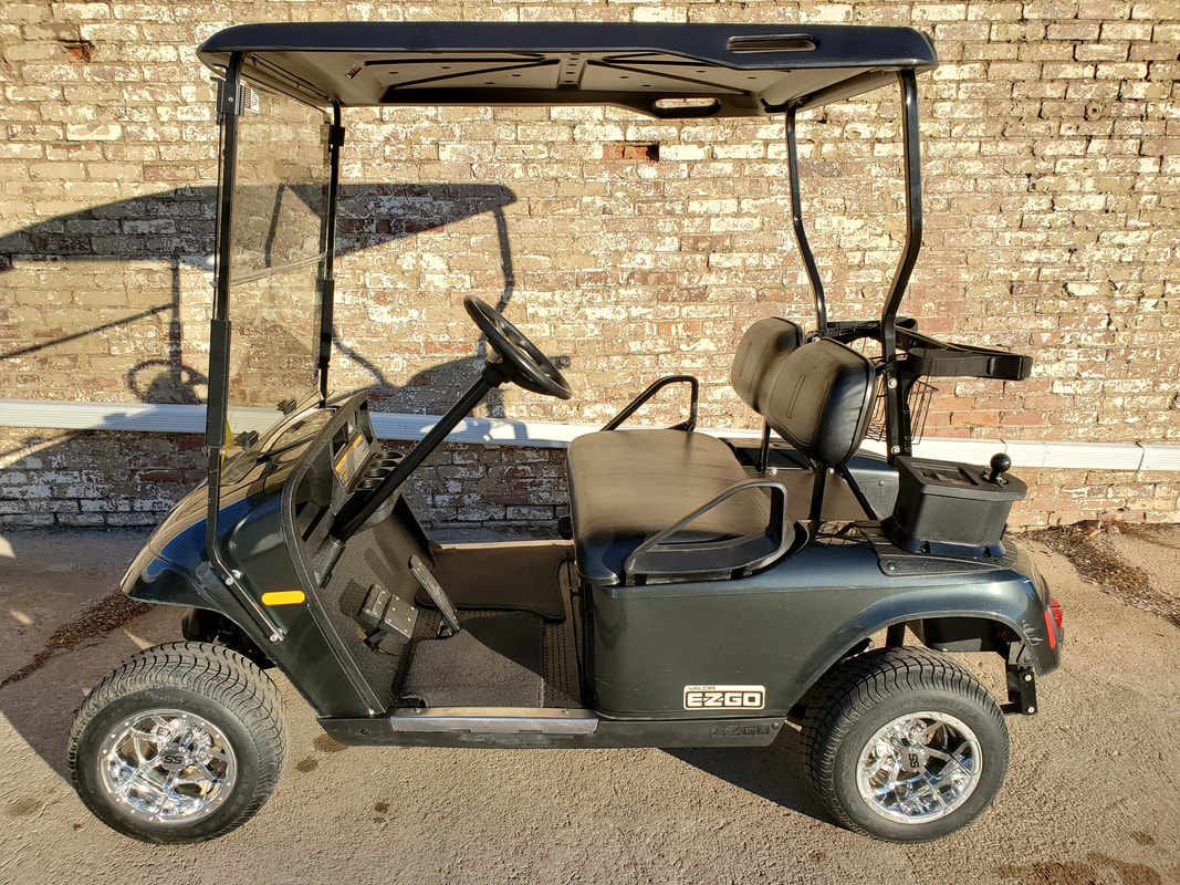2012 E-Z-GO Valor, Gas, British Racing Green, Black Seats & Top, Head-Tail-Brake Lights, Horn, Clear Folding Windshield, Black Ball Washer, 10