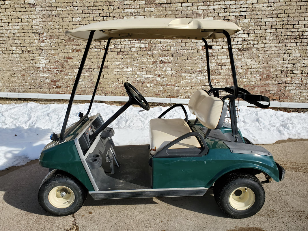 2002 Club Car DS, Gas, Green, Beige Seats (Will Have New Bottom Seat Cover) & Top, Aftermarket Headlights, Oil Light, 12 Volt Outlet, MR. Golf Car Inc., Springfield, South Dakota