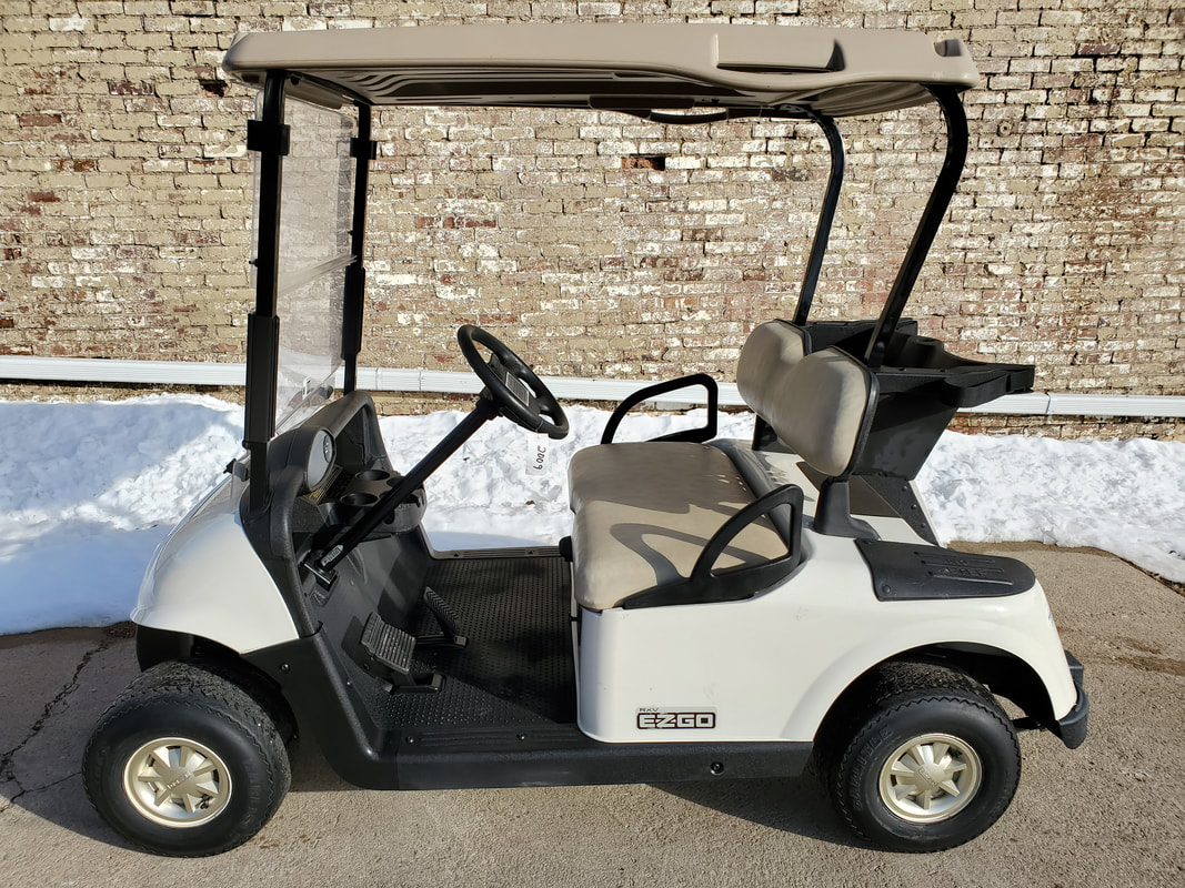 2009 E-Z-GO RXV, Gas, Ivory, Stone Beige Seats & Top, Clear Folding Windshield, Gold Hubcaps, MR. Golf Car Inc., Springfield, South Dakota