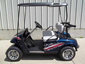 2011 E-Z-GO TXT Gas Cust Flag Patriot Blue, Gray Seats, Black Top, 12 Inch Chrome Wheels, Chrome Steering Column, MR. Golf Car Inc. , Springfield S.D.